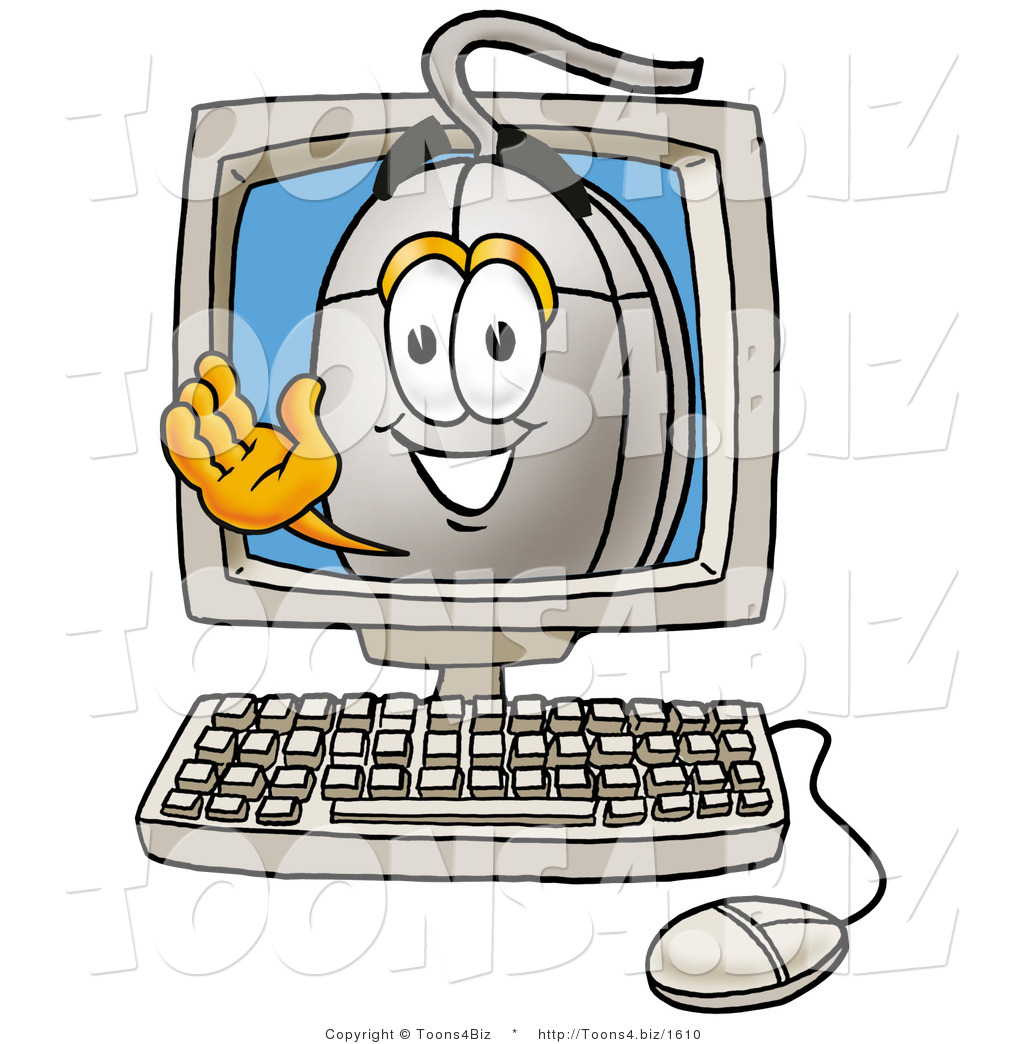 Of a cartoon computer mouse mascot aving from inside a computer