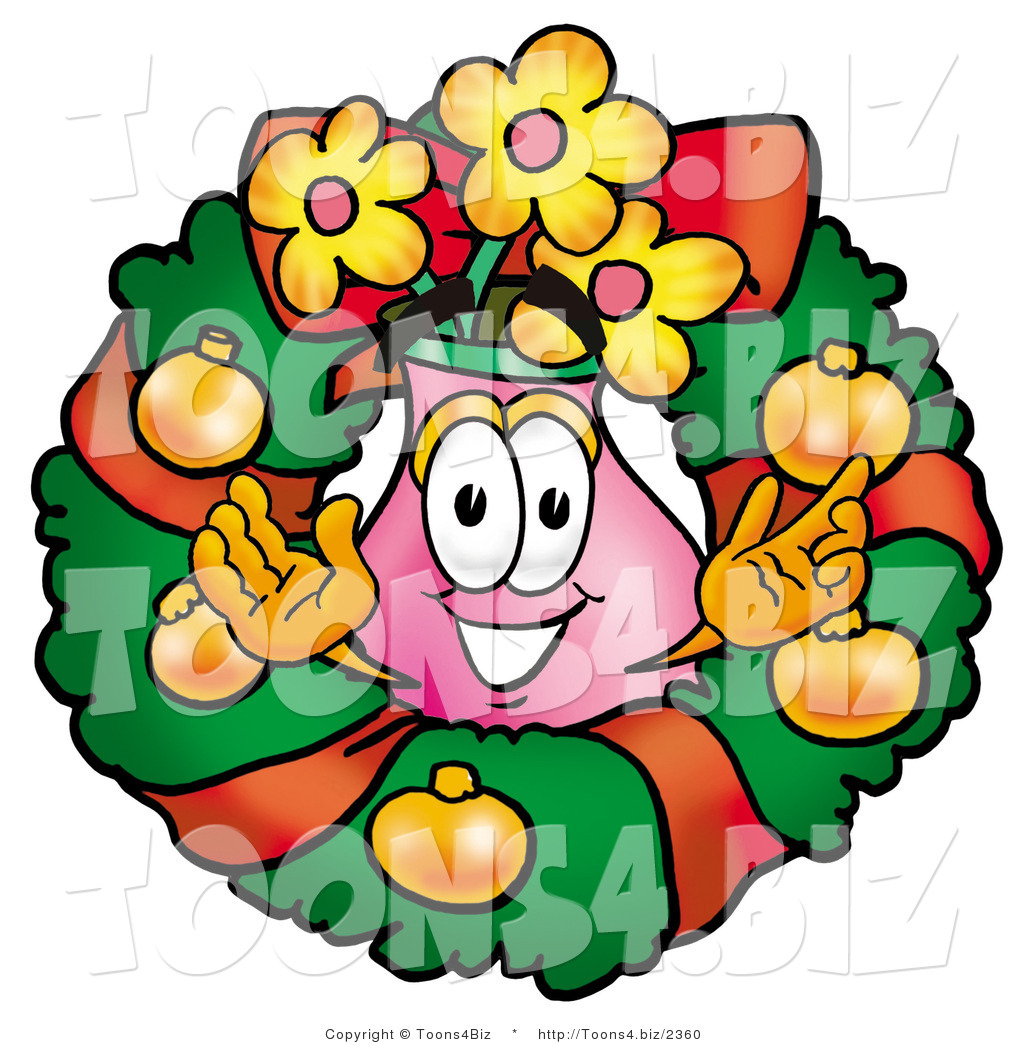 Illustration of a cartoon flowers mascot in the center