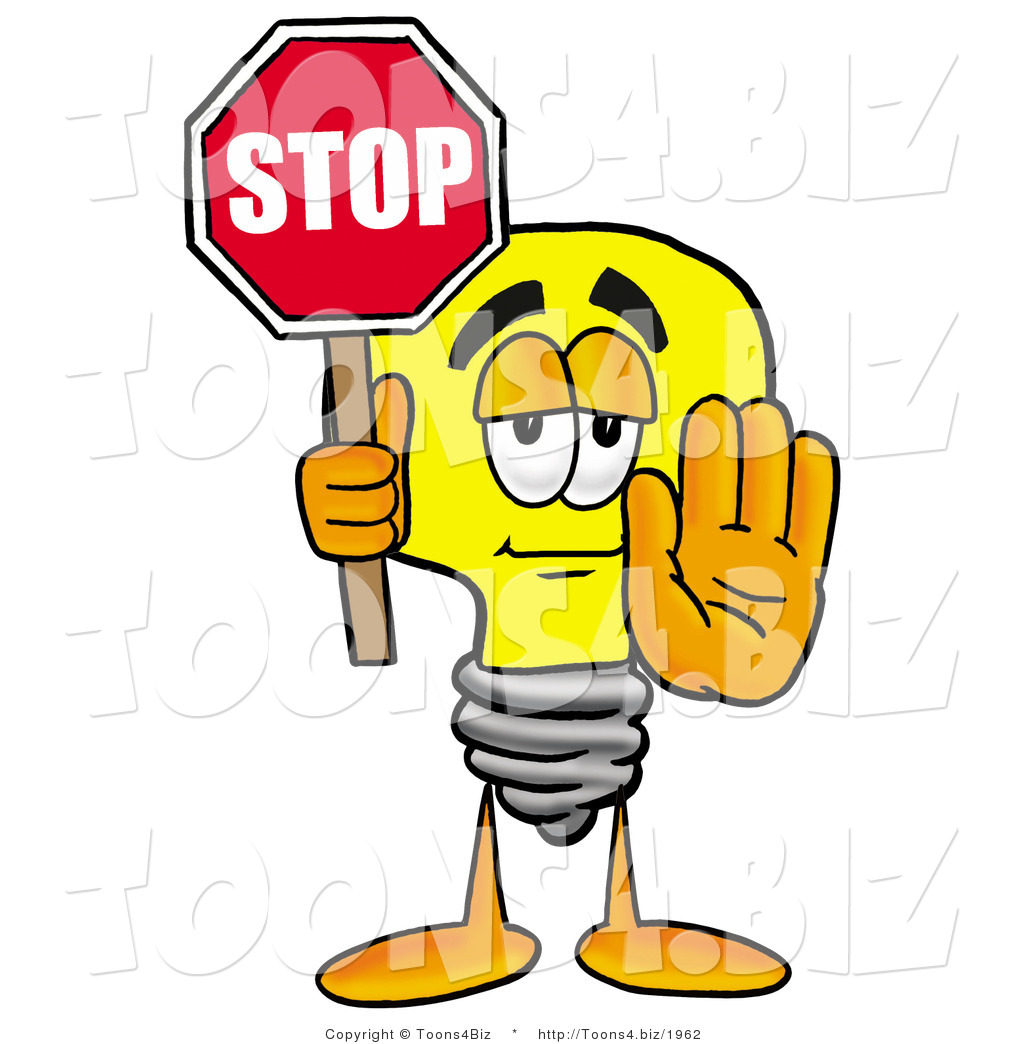 Cartoon Light Bulb http://toons4.biz/design/illustration-of-a-cartoon-light-bulb-mascot-holding-a-stop-sign-by-toons4biz-1962