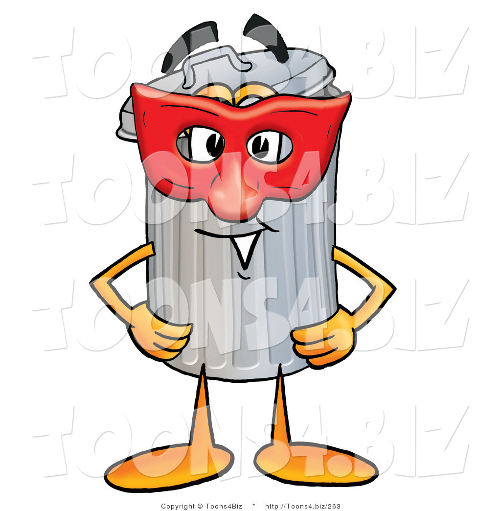 illustration of a cartoon trash can mascot wearing a red mask over rh toons4 biz Winking Smiley Face Clip Art Smiley-Face Emotions Clip Art