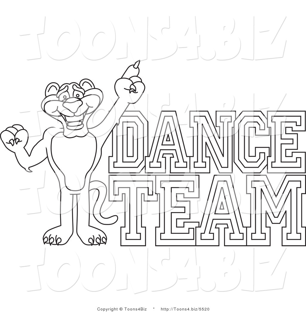 Line Art Vector Illustration Of A Cartoon Panther Mascot With Dance Team Text By Toons4biz 5520