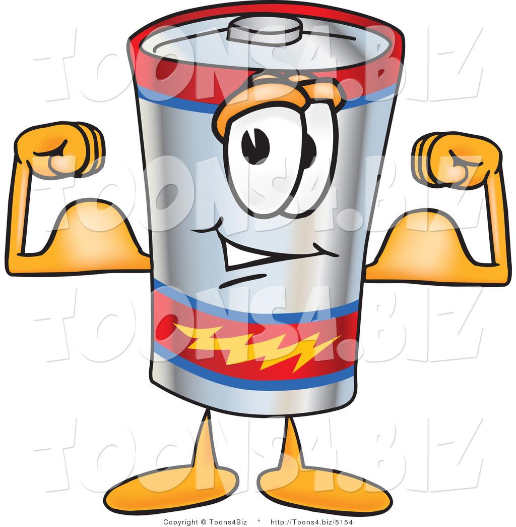 Vector Illustration of a Cartoon Battery Mascot Flexing His Arm ...