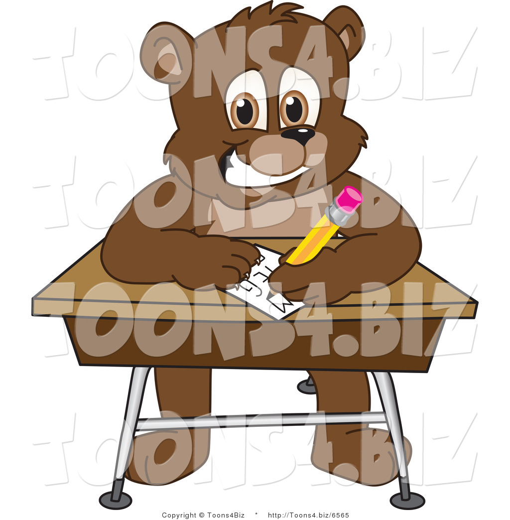 vector illustration of a cartoon bear mascot writing on a desk by rh toons4 biz Story Clip Art Story Clip Art