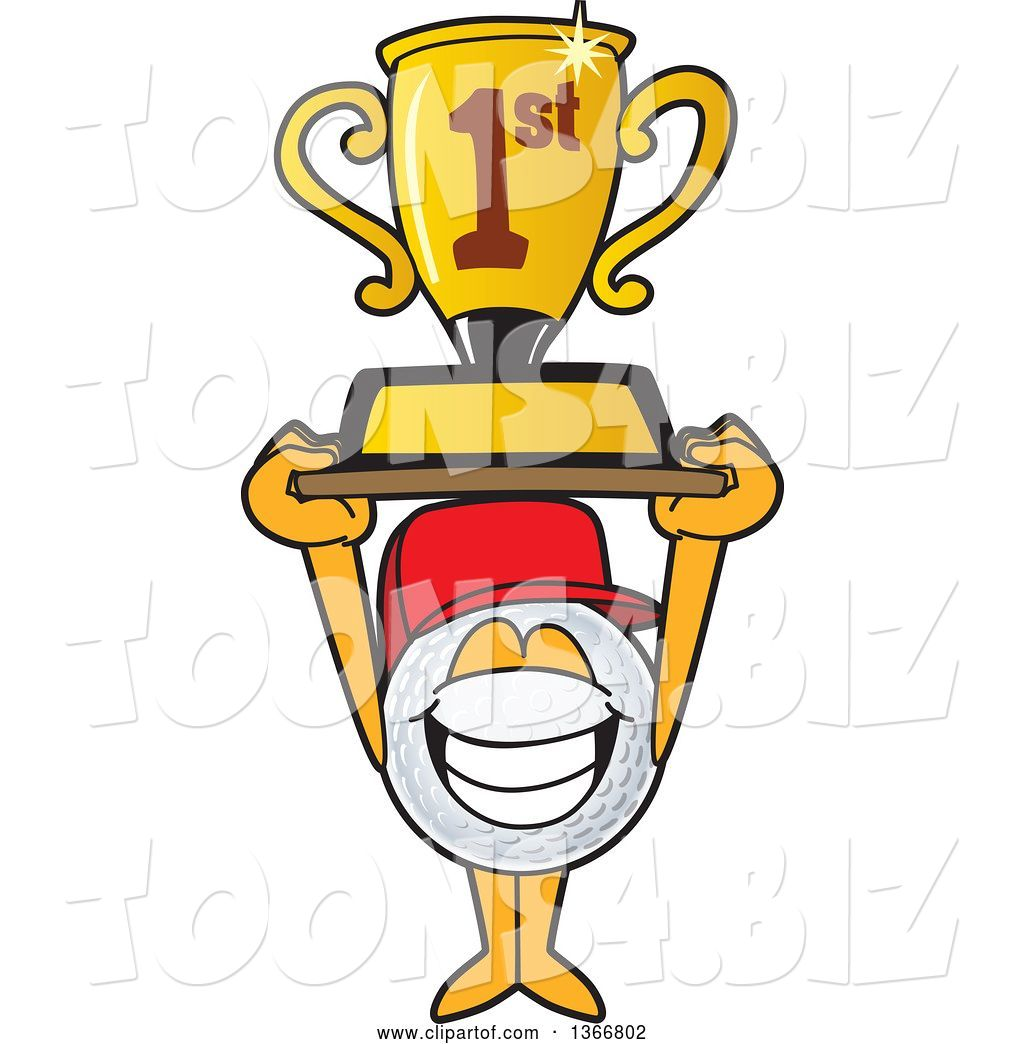 Vector Illustration Of A Cartoon Golf Ball Sports Mascot Wearing A Red Hat And Holding Up A First Place Trophy By Toons4biz 8423