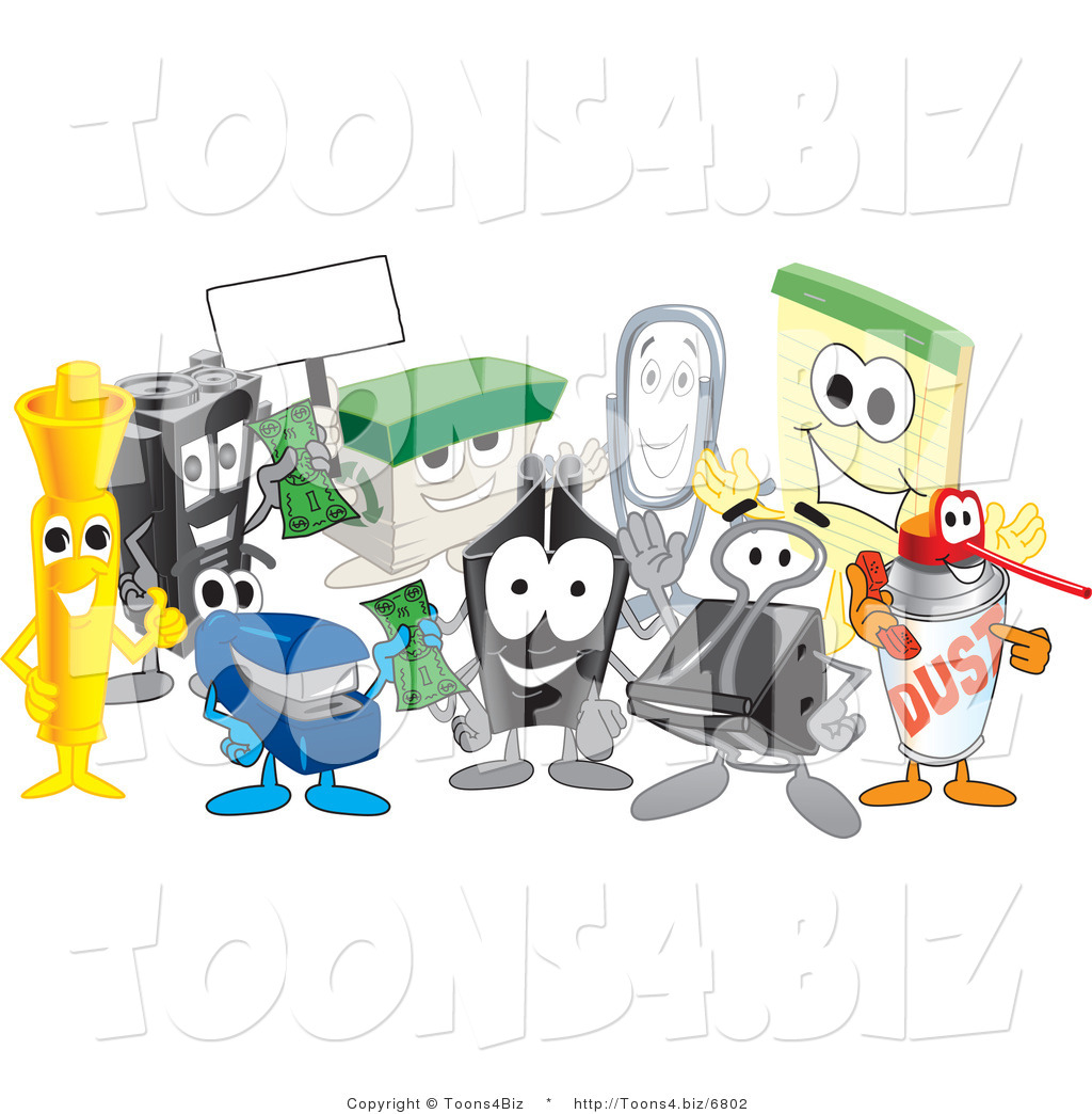 Vector Illustration of a Cartoon Group of Office Supply MascotsOffice Supplies Cartoon