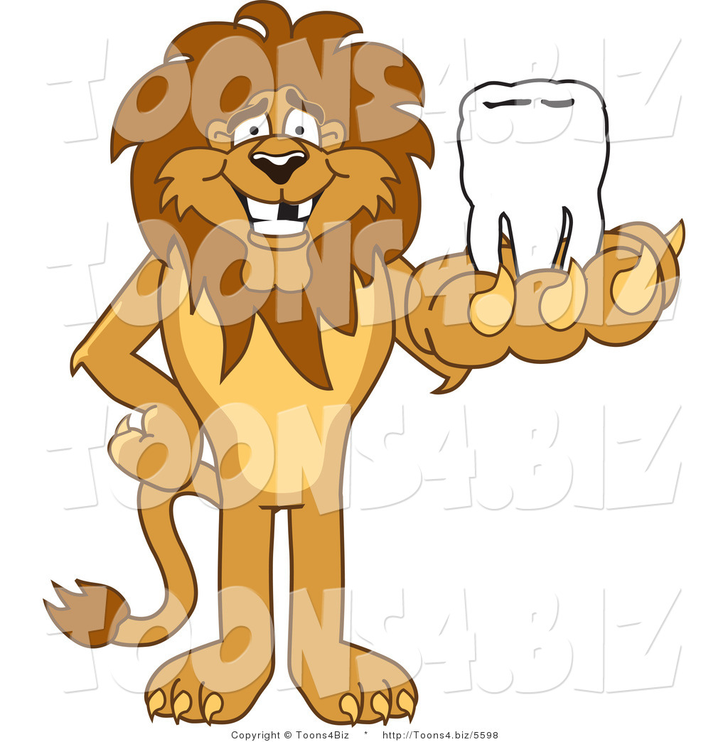 vector illustration of a cartoon lion mascot holding a tooth by