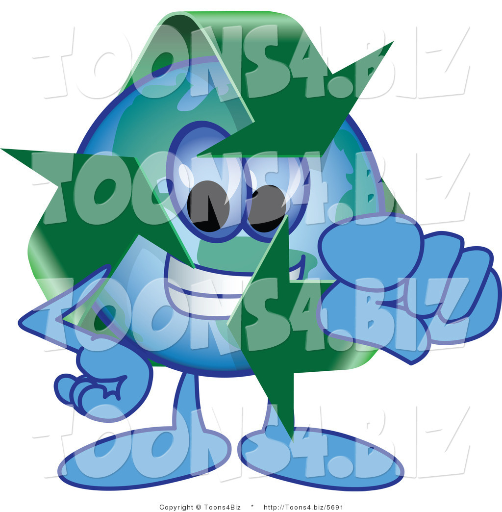 Cartoon recycle mascot pointing outwards cartoon recycle mascot