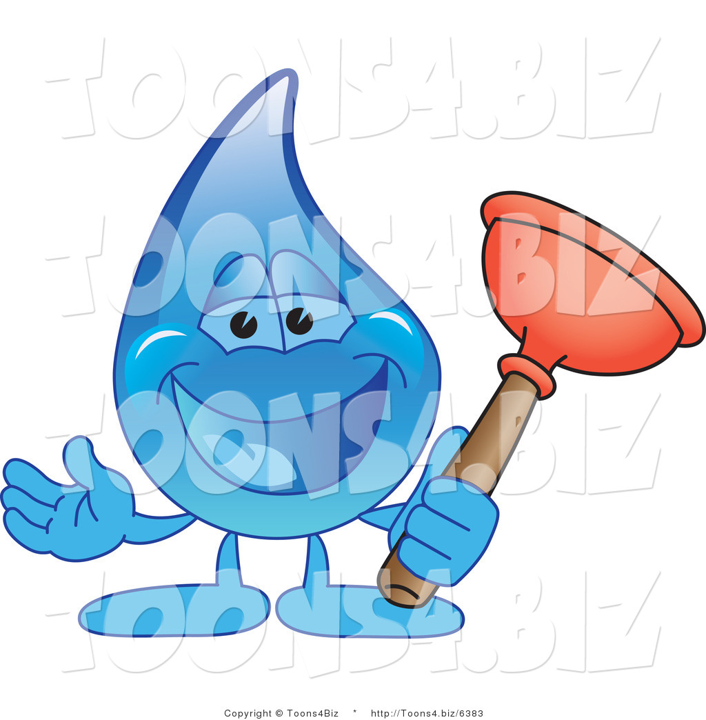 vector illustration of a cartoon water drop mascot holding a toilet plunger by toons4biz 6383. Black Bedroom Furniture Sets. Home Design Ideas