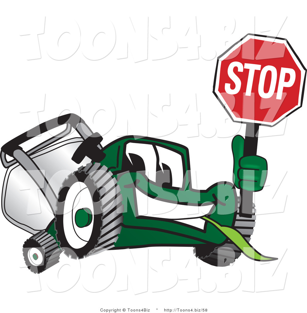 vector illustration of a green cartoon lawn mower mascot holding up a stop sign