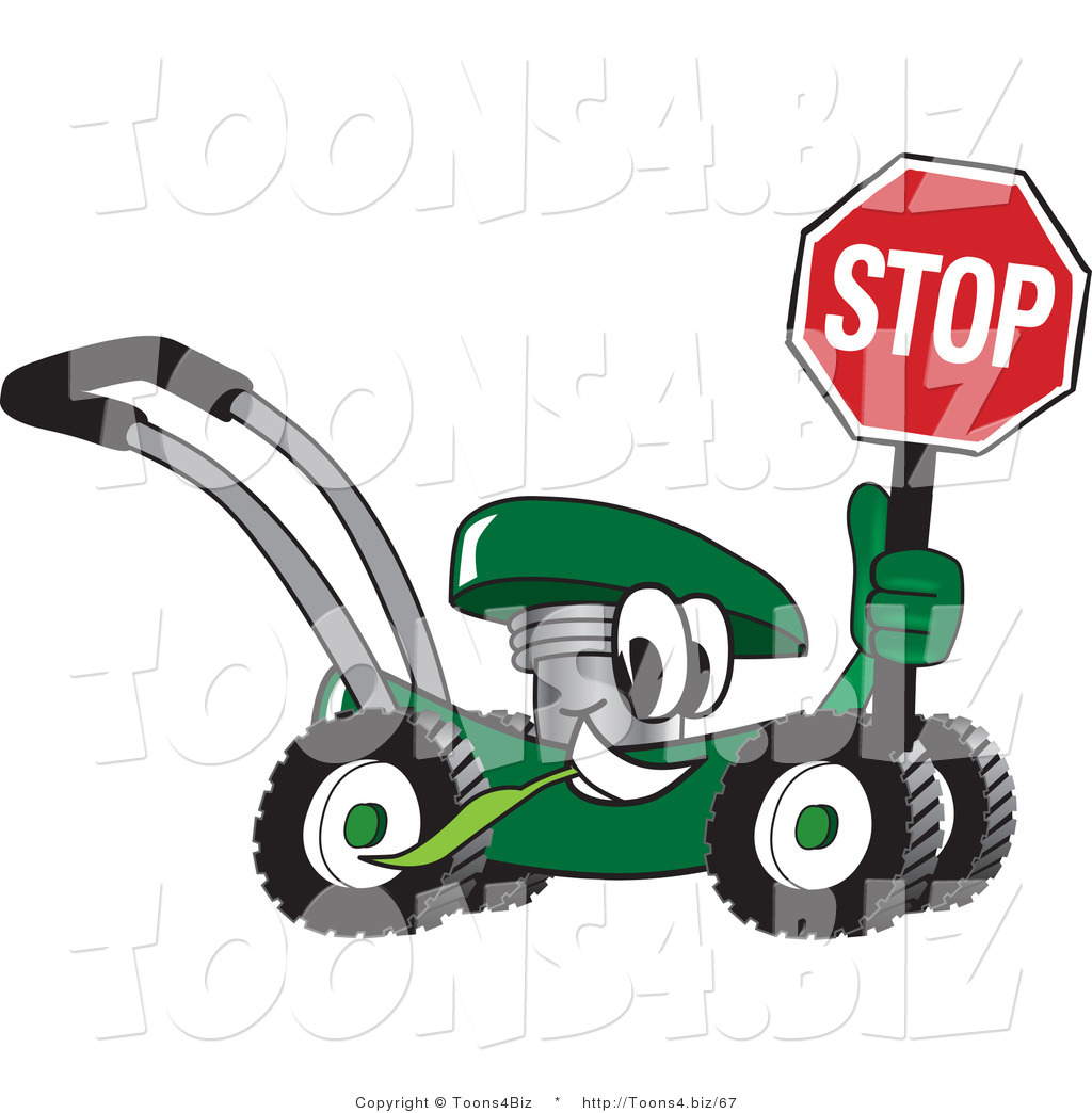 lawn mower vector. vector illustration of a green cartoon lawn mower mascot passing by and holding stop sign