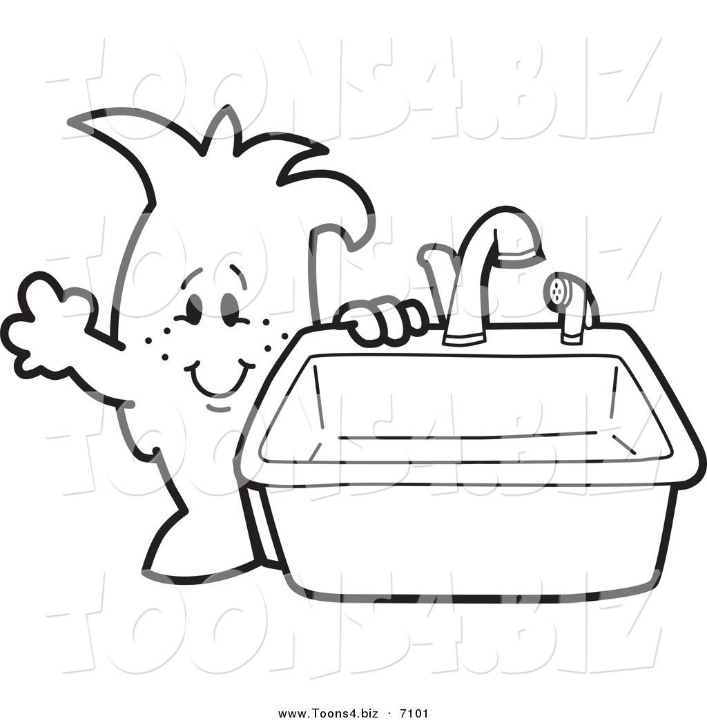 cartoon naked guy at kitchen sink