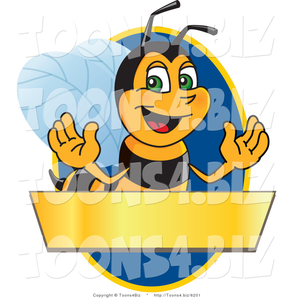 Vector Illustration Of A Worker Bee Mascot Logo Over Blank Banner On Blue
