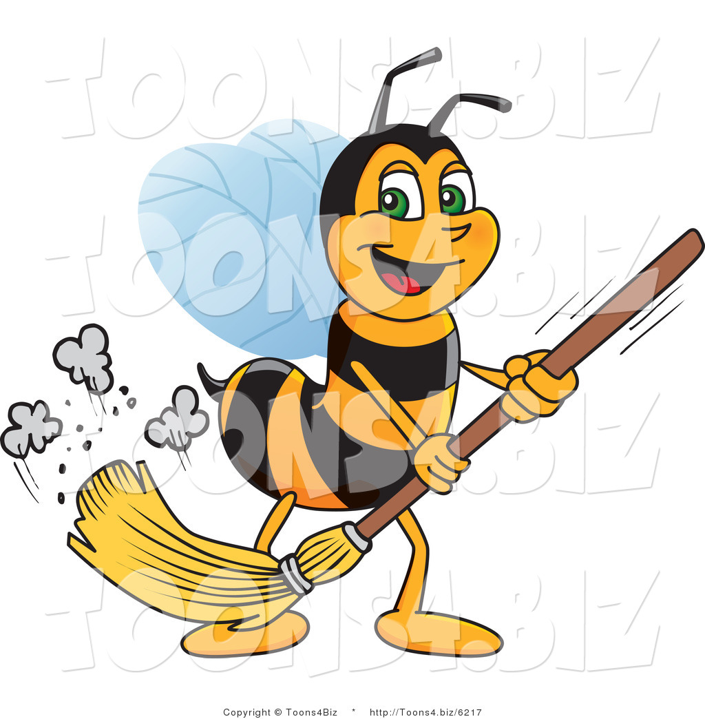 vector illustration of a worker bee mascot sweeping by toons4biz
