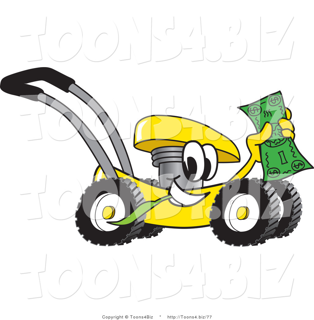 Vector illustration of a yellow cartoon lawn mower mascot passing by vector illustration of a yellow cartoon lawn mower mascot passing by and waving cash in the publicscrutiny Image collections