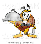 Illustration of a Basketball Mascot Dressed As a Waiter and Holding a Serving Platter by Toons4Biz