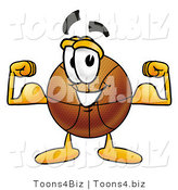 Illustration of a Basketball Mascot Flexing His Arm Muscles by Toons4Biz