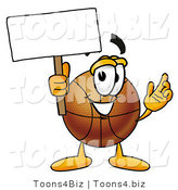 Illustration of a Basketball Mascot Holding a Blank Sign by Toons4Biz