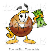 Illustration of a Basketball Mascot Holding a Dollar Bill by Toons4Biz