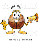 Illustration of a Basketball Mascot Holding a Megaphone by Toons4Biz