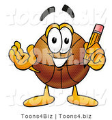 Illustration of a Basketball Mascot Holding a Pencil by Toons4Biz