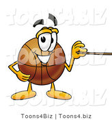 Illustration of a Basketball Mascot Holding a Pointer Stick by Toons4Biz