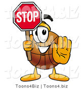 Illustration of a Basketball Mascot Holding a Stop Sign by Toons4Biz