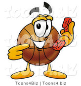 Illustration of a Basketball Mascot Holding a Telephone by Toons4Biz