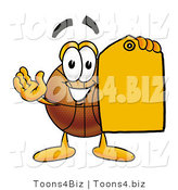 Illustration of a Basketball Mascot Holding an Orange Sales Price Tag by Toons4Biz