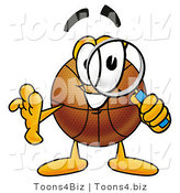 Illustration of a Basketball Mascot Looking Through a Magnifying Glass by Toons4Biz