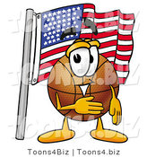 Illustration of a Basketball Mascot Pledging Allegiance to an American Flag by Toons4Biz
