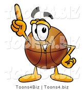 Illustration of a Basketball Mascot Pointing Upwards by Toons4Biz