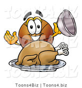 Illustration of a Basketball Mascot Serving a Thanksgiving Turkey on a Platter by Toons4Biz