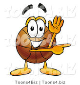 Illustration of a Basketball Mascot Waving and Pointing by Toons4Biz