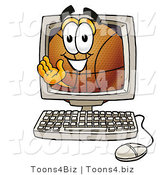 Illustration of a Basketball Mascot Waving from Inside a Computer Screen by Toons4Biz