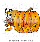 Illustration of a Basketball Mascot with a Carved Halloween Pumpkin by Toons4Biz