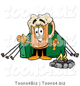 Illustration of a Beer Mug Mascot Camping with a Tent and Fire by Toons4Biz