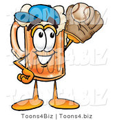 Illustration of a Beer Mug Mascot Catching a Baseball with a Glove by Toons4Biz