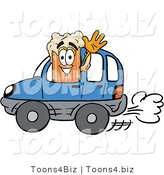 Illustration of a Beer Mug Mascot Driving a Blue Car and Waving by Toons4Biz
