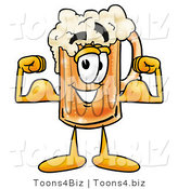 Illustration of a Beer Mug Mascot Flexing His Arm Muscles by Toons4Biz