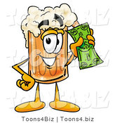 Illustration of a Beer Mug Mascot Holding a Dollar Bill by Toons4Biz