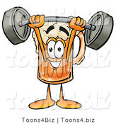 Illustration of a Beer Mug Mascot Holding a Heavy Barbell Above His Head by Toons4Biz