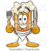 Illustration of a Beer Mug Mascot Holding a Knife and Fork by Toons4Biz