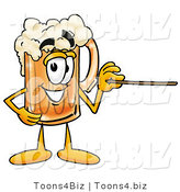 Illustration of a Beer Mug Mascot Holding a Pointer Stick by Toons4Biz