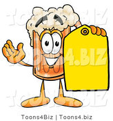 Illustration of a Beer Mug Mascot Holding a Yellow Sales Price Tag by Toons4Biz
