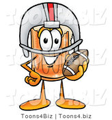 Illustration of a Beer Mug Mascot in a Helmet, Holding a Football by Toons4Biz