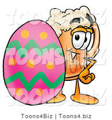 Illustration of a Beer Mug Mascot in an Easter Basket Full of Decorated Easter Eggs by Toons4Biz