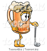 Illustration of a Beer Mug Mascot Leaning on a Golf Club While Golfing by Toons4Biz