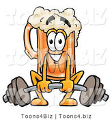 Illustration of a Beer Mug Mascot Lifting a Heavy Barbell by Toons4Biz