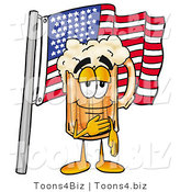 Illustration of a Beer Mug Mascot Pledging Allegiance to an American Flag by Toons4Biz