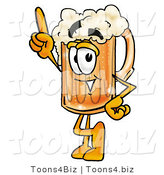 Illustration of a Beer Mug Mascot Pointing Upwards by Toons4Biz